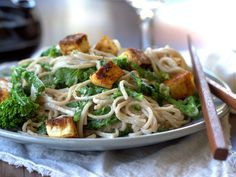 Soba Noodles with Tahini Sauce, Broccoli Rabe and Ginger Black Pepper Braised Tofu