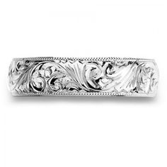 Womens Dome Wedding Band With Hand Engraved Details Special Price: $1,492.45