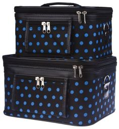Travel Train Case - Cosmetic - Toiletry - 2 Pc. Set, Black with Blue Polka Dots by Treasures and Treasures. $32.75. Mirror inside. Dual zipper front pocket. Dual zipper top closure. 2 pieces set. Complete with detachable and adjustable shoulder straps, interior mirrors, and outside zipper pockets for added convenience, this two piece train case is sure to please! Each solid, stand-alone case is made of a durable canvas material available in a chic black with blue po...