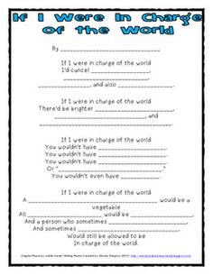 If I were in charge of the world poem re-write and graphic organizer blog: Mandy's Tips for Teachers: freebie