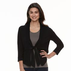Women's Nina Leonard Tie-Front Bolero, Size: Medium, Black