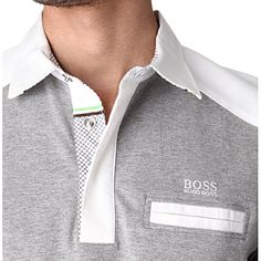 HUGO BOSS Contrast stripe rugby shirt (Grey/white