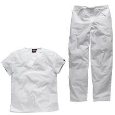 White scrubs outfit for use as a nurses uniform, dental nurse uniform or medical uniform.