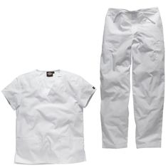White scrubs outfit for use as a nurses uniform, dental nurse uniform or medical uniform.