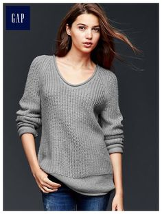 Large Heather Grey Roll-neck ribbed sweater