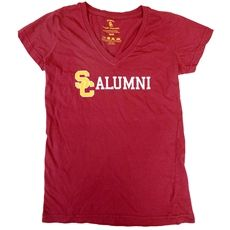 USC Women's Cardinal Alumni Interlock V-Neck T-Shirt