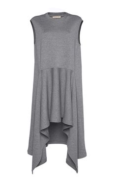 Rendered in a double faced wool jersey, this sleeveless **Marni** dress features a jewel neck with a relaxed bodice and an asymmetric drop waist hem with a cascading ruffle design.