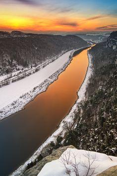 Golden sunset above river Elbe - Lower Bastei View, Saxon Switzerland, Germany, by Jensen Bohme