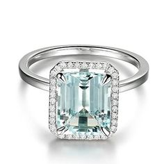 Emerald Cut Aquamarine Engagement Ring Pave Diamond Wedding 14K White Gold,8x10mm - Lord of Gem Rings - 1