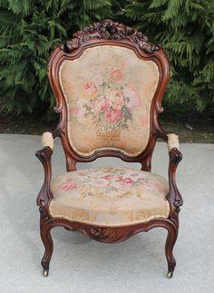 $685.00 Fancy Carved Walnut Victorian Parlor Arm Chair circa 1875 eBay