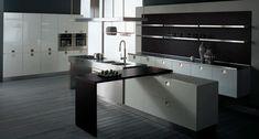 cocina de lujo moderna plata y negro