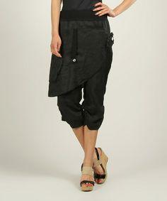 Black Ely Linen Harem Pants by Un Coeur en Ete