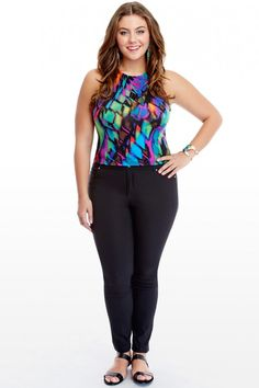 c50e2ff30cdd1 Plus Size Havana Tropical Print Crop Top