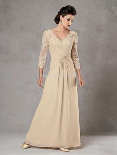 Sale-Mother-of-the-Bride-Dresses-2015-Lace-Long-sleeve-V-neck-Floor-length-Chiffon-Long