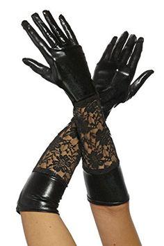 Wetlook und Spitze Handschuhe 'Wet Lacy' schwarz lang