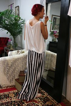 Coolest pyjamas ever. So want! Travel Light Lounge Pajama Black and White Stripe Silk Knit Wide Trouser Low Rise Honeymoon Dream Sleepwear Lingerie on Etsy, £72.62