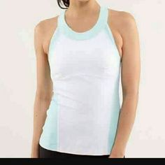 Lululemon Tank Light, mint blue. With white. Amazing condition no stains or signs of wear. I bought it from another posher but it is too small for me. Size 2. Price is firm. lululemon athletica Tops Tank Tops