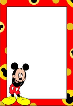 Mickey: Free Printable Frames, Invitations or Cards. - Oh My Fiesta! in english Mickey Mouse Template, Mickey Mouse Background, Mickey Mouse Letters, Mickey Mouse Clipart, Disney Clipart, Disney Printables, Free Printables, Mickey First Birthday, Disney Frames