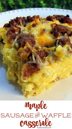 Maple Sausage and Waffle Casserole Recipe - waffles, sausage, cheese, eggs, milk and maple syrup. Can make the night before and refrigerate overnight - smelled amazing while it baked - tasted even bet (Maple Sausage Recipes) Breakfast Desayunos, Breakfast Items, Sausage Breakfast, Breakfast Dishes, Breakfast Casserole, Breakfast Recipes, Health Breakfast, Breakfast Healthy, Gourmet Breakfast