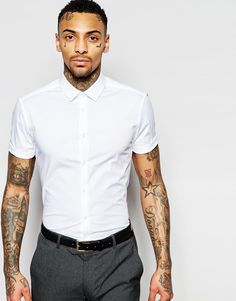 Image 1 of ASOS Skinny Shirt In White With Short Sleeves