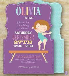 Kid's Birthday Invitation Gymnast Party  Custom