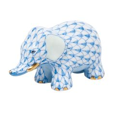 """Herend Hand Painted Porcelain Figurine """"Little Elephant"""" Blue Fishnet Gold Accents."""