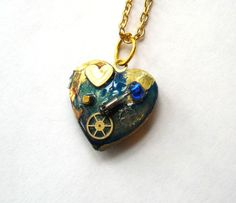 Doctor Who Necklace Gallifreyan Heart Locket by TimeMachineJewelry