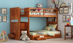 Twice the fun when doubled the bed! 😍 Cheshire Bunk Bed for the twins twinning in the same room. With a sturdy ladder by the side and storage drawers so nothing gets in the way of the kids having fun! Solid Wood Bunk Beds, Wooden Bunk Beds, Kids Bunk Beds, Kids Beds With Storage, Bed Storage, Storage Drawers, Bunker Bed, Kids Bedside Table, Kids Single Beds