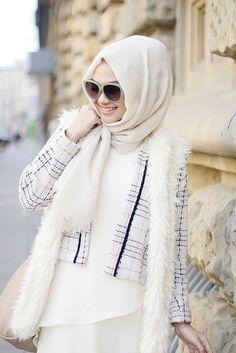 white dress. stirped blazer. white scarf.