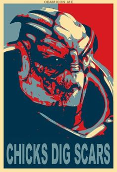 """""""Garrus Vakarian"""" by Dillon (MrBojangles824 @ DeviantArt.com) (© 2010), in the style of Barak Obama's 2008 presidential campaign """"Hope"""" poster, designed by Shepard Fairey.  What can I say, it's true!"""