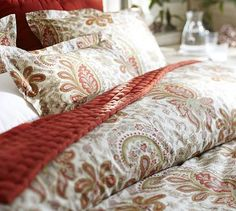 Charlie Paisley Organic Duvet Cover & Sham - Red #potterybarn    I want this paisley fabric by the yard!  Please???