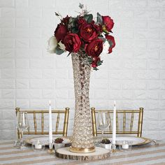 Crystal Vases and Centerpieces Wedding Vase Centerpieces, Wedding Centerpieces, Wedding Decorations, Parties Decorations, Floral Tablecloth, Branch Decor, Winter Wonderland Wedding, Gift Table, Crystal Wedding