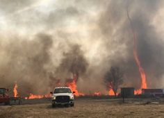 In this image made from a Feb. 18, 2016 video by Dean Cull, deputy chief of the Southern Platte Fire Protection District, a twisting fire, also known as a fire tornado, shoots up in the air as the grass fires spread on the field in Platte County, Mo. Firefighters in northwest Missouri are continuing to watch the site of a grass fire fueled by high winds that damaged up to 1,500 acres of land in Platte County. (Dean Cull/Southern Platte Fire Protection District via AP) Photo: Dean Cull, AP…