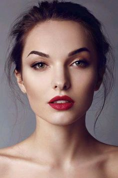 Red lips muted eyes