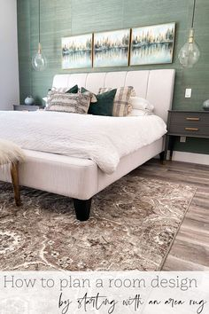Are you trying to decorate your master bedroom but not sure where to start? Well an area rug is a great jumping off point for a master bedroom decor scheme. Today I'm sharing how I used our new bedroom area rug to help me create the look I wanted in the rest of this space. Bedroom Retreat, Bedroom Decor, French Farmhouse Decor, French Style Homes, Master Bedroom Makeover, Blue Home Decor, Bed Wall, Home Decor Trends, House Rooms