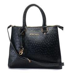 MICHAEL Michael Kors Large Ostrich-Embosesd Dual Use Bag Black