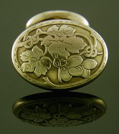 Art Noveau artists embraced sinuous, whiplash curves inspired by nature and drawn from imagination.  These elegant gold cufflinks featuring entwining grape vines are a wonderful example. Ideal for your next Bacchanalian fête or formal wine tasting.  Crafted in 14kt gold, circa 1900.