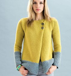 This chunky knit cardigan gets a soft touch. A stand collar, front 2 buttons closure with a grey seed pattern trim make it the perfect piece to layer over everything from a silk blouse to a crisp cotton tee. Yarn from Natural Fantazy Spa ART. TIBET SOLID Composition: 100% Cashmere Color: Yellow/Mustard Buyers from NY will be responsible for sale tax.