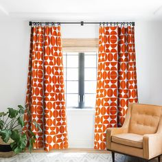 The Old Art Studio Mid Century Modern 04 Orange Blackout Window Curtain Decor, Curtains Living Room, Living Room Orange, Rustic Country Home, Orange Accents Living Room, Mid Century Modern Curtains, Home Decor, Mid Centry Modern, Orange Curtains