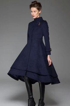 Navy blue coat get up collar lengthy coat womens coats cute coats Long Winter Coats, Long Wool Coat, Winter Coats Women, Coats For Women, Wool Coats, Women's Coats, Mantel Styling, Mantel Outfit, Asymmetrical Coat