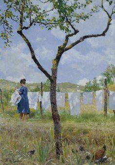 Hanging out Laundry/Panni stesi, (1890-1895) Raffaello Sorbi