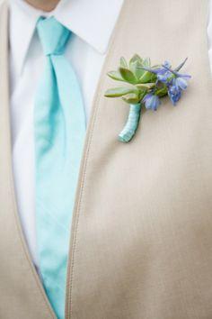 Tiffany Blue + Succulent #Boutonniere | Love } Miranda Laine Photography