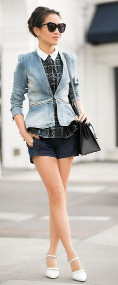 LOVE THIS -> Rebecca Taylor Zip-Waist denim Jacket by Wendy's Lookbook