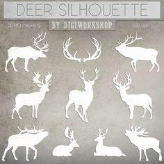 """Deers clipart """"Silhouettes of Deer"""""""