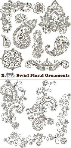 Floral patterns and ornaments - vector. Henna Doodle, Henna Art, Polish Tattoos, Mehndi Style, Indian Folk Art, Wood Burning Patterns, Lace Tattoo, Baby Tattoos, Parchment Craft