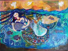 Mermaid, mixed media and polymer clay mosaic tiles   by mosaicfun