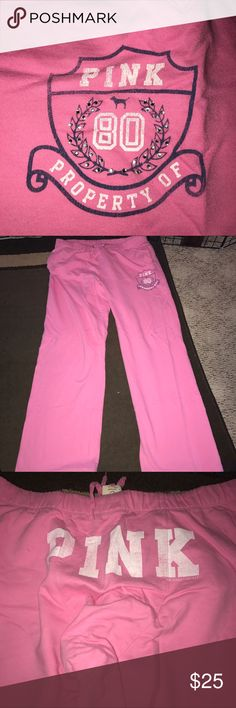 VS pink boyfriend pants GUC! Tiny, hardly noticeable white marks (as shown) and some pilling between things. All rhinestones intact. PINK Victoria's Secret Pants Track Pants & Joggers