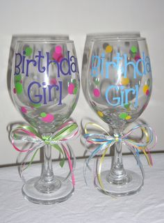 Personalized Birthday Wine Glasses by EllerysDesigns on Etsy, $12.00