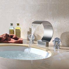 Moon Widespread Basin Faucet Waterfall Bathroom Sink Tap with Crystal Handles Bathroom Sink Taps, Shower Faucet, Bathroom Chrome, Bathroom Pink, Concrete Bathroom, White Bathrooms, Shower Tiles, Luxury Bathrooms, Dream Bathrooms