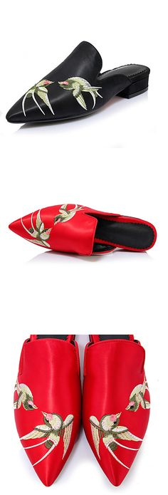 Elegant point toe slip-on flats with a chinese authentic twist! Find them in red and black at $36.99.